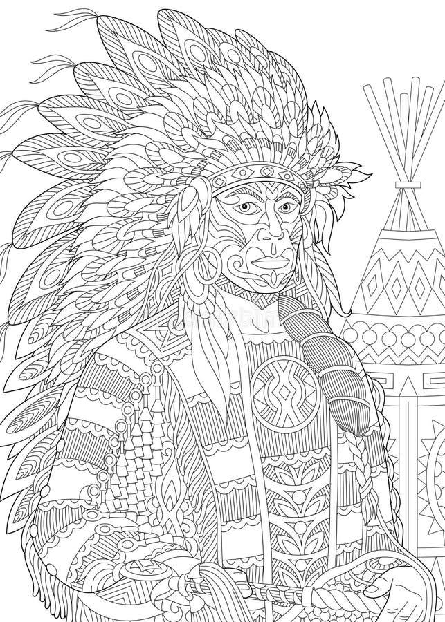 Zentangle estilizó al jefe indio rojo ilustración del vector