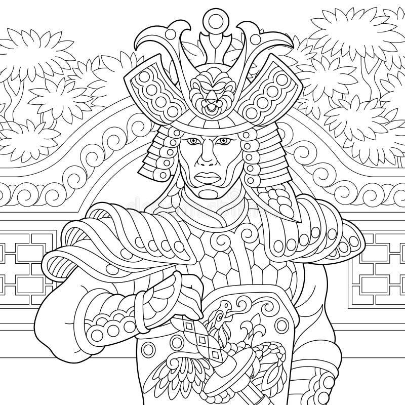 Zentangle estilizó al samurai japonés ilustración del vector