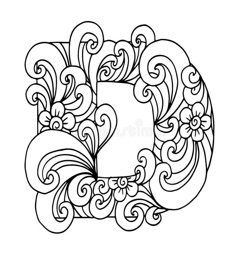 Zentangle estilizó alfabeto Letra D en estilo del garabato Fuente drenada mano del bosquejo stock de ilustración