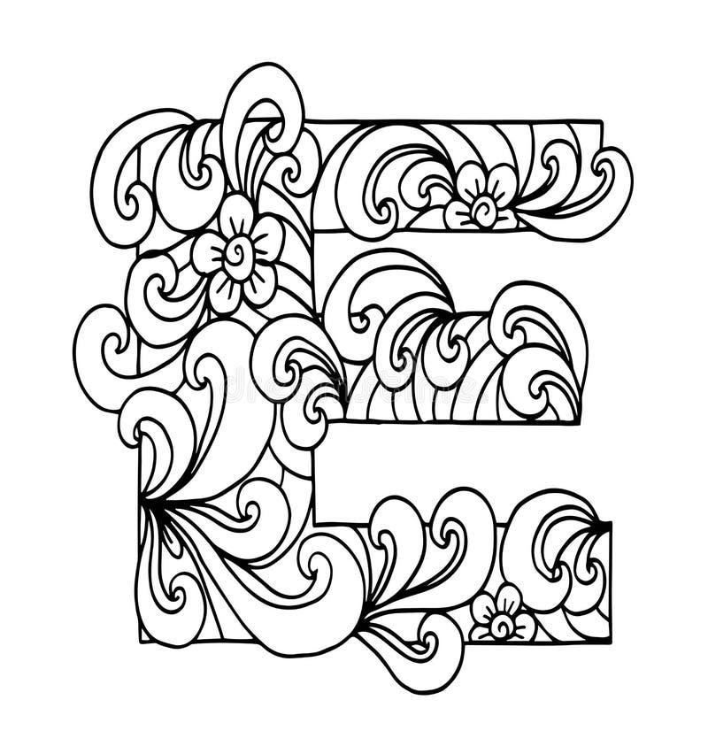 Zentangle estilizó alfabeto Letra E en estilo del garabato Fuente drenada mano del bosquejo ilustración del vector