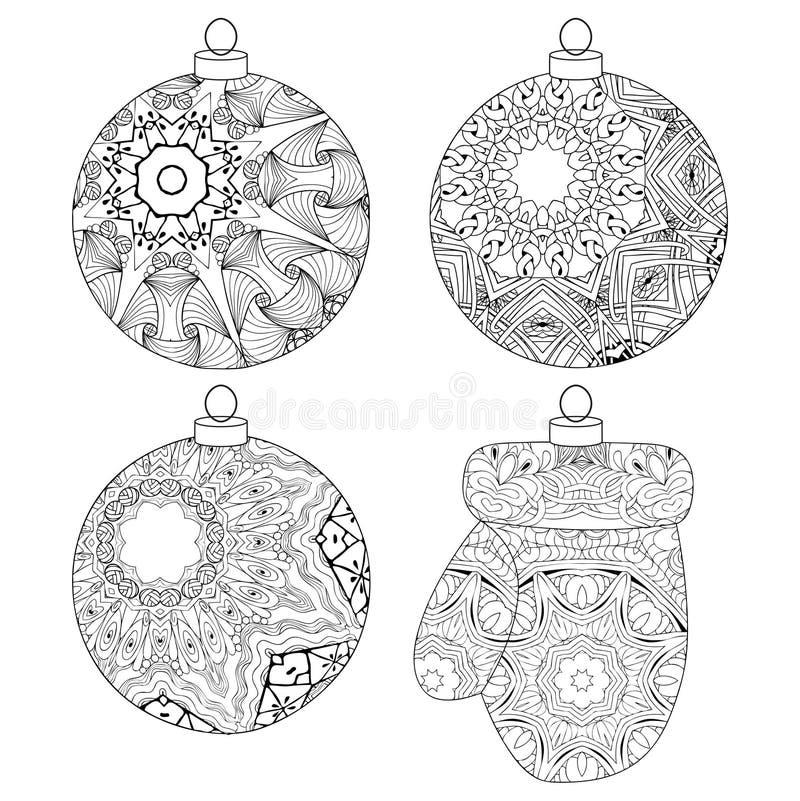 Zentangle estilizó decoraciones de la Navidad Ejemplo dibujado mano del vector del cordón ilustración del vector