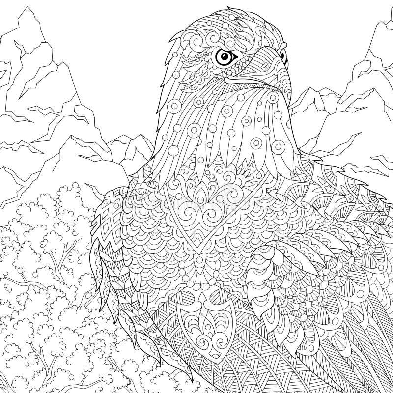 Zentangle Estilizó El águila Ilustración del Vector - Ilustración de ...