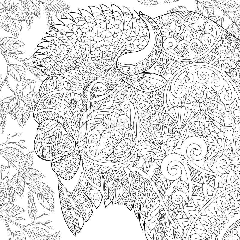 Zentangle estilizó el bisonte libre illustration