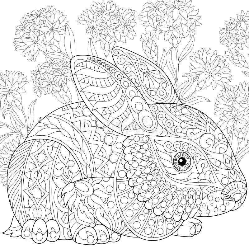 Zentangle estilizó el conejito de pascua stock de ilustración