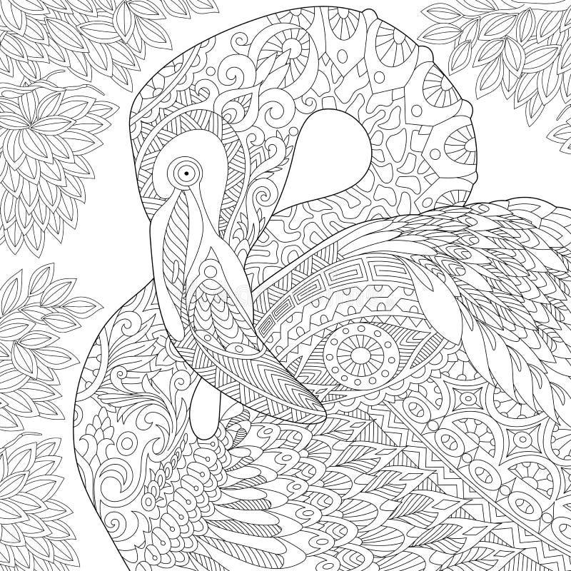 Zentangle estilizó el flamenco libre illustration