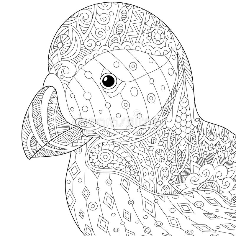 Zentangle estilizó el frailecillo libre illustration