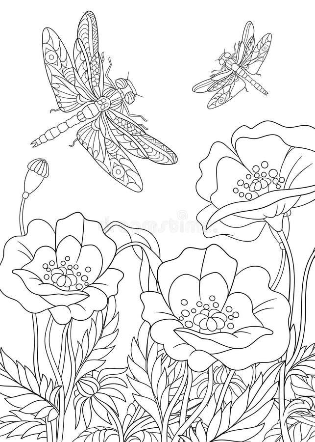 Zentangle estilizó el insecto de la libélula stock de ilustración