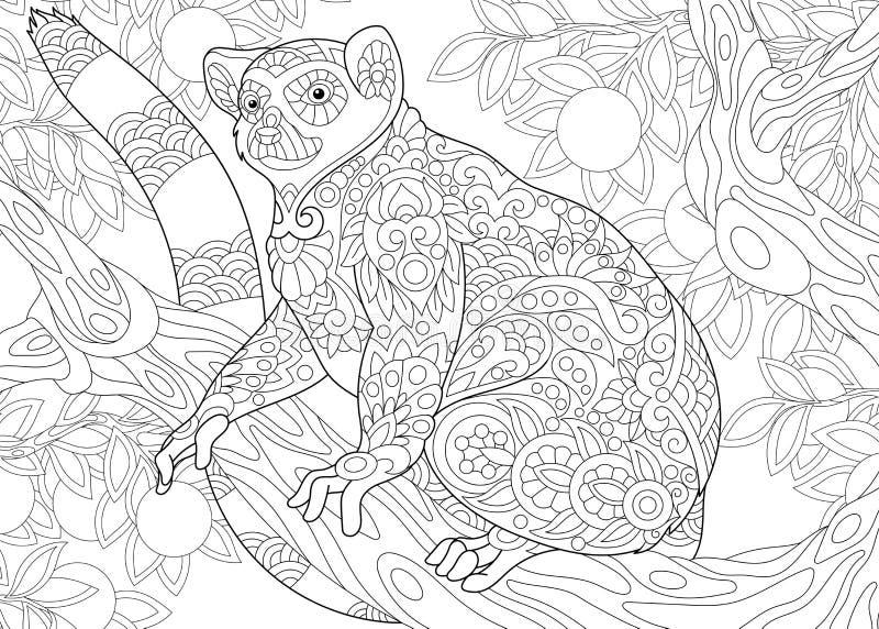 Zentangle estilizó el lémur libre illustration