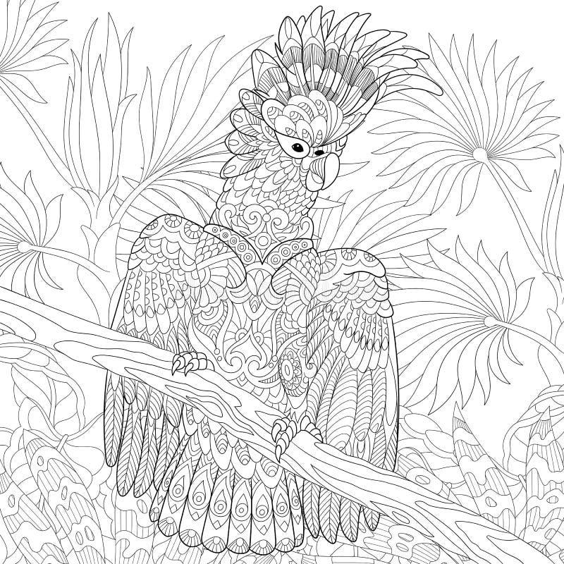 Zentangle estilizó el loro de cacatúa libre illustration