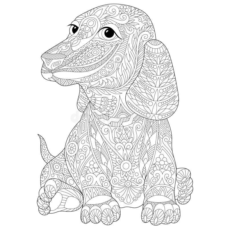 Zentangle Estilizó El Perro Basset (el Teckel) Ilustración del ...