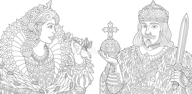 Zentangle estilizó el rey y a la reina ilustración del vector