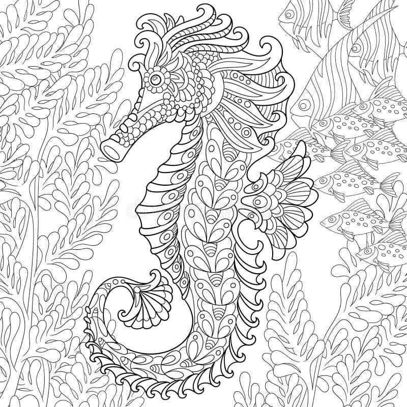 Zentangle estilizó el seahorse stock de ilustración