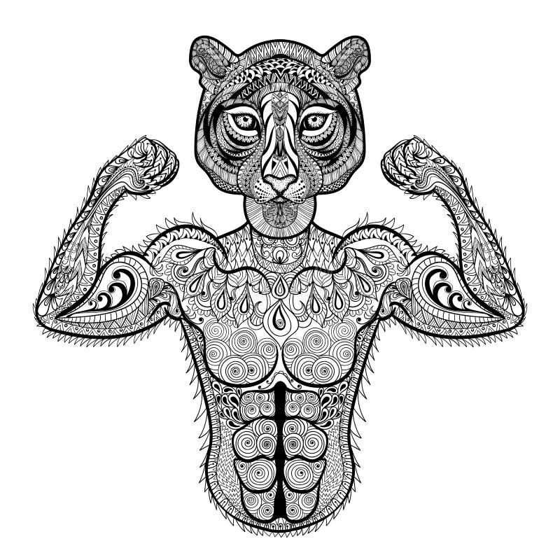 Zentangle estilizó el tigre fuerte Illustr dibujado mano del vector del deporte ilustración del vector