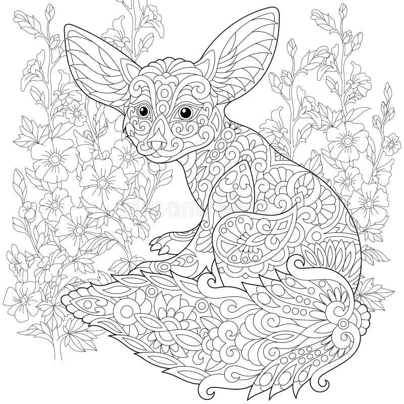 Zentangle estilizó el zorro del fennec ilustración del vector