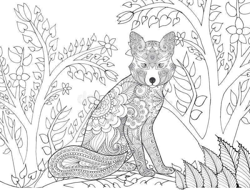 Zentangle estilizó el zorro en bosque de la fantasía stock de ilustración