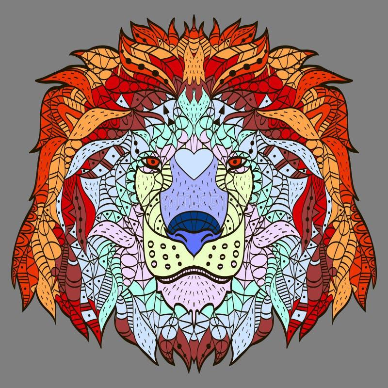 Zentangle estilizó la cabeza de la historieta de un león stock de ilustración