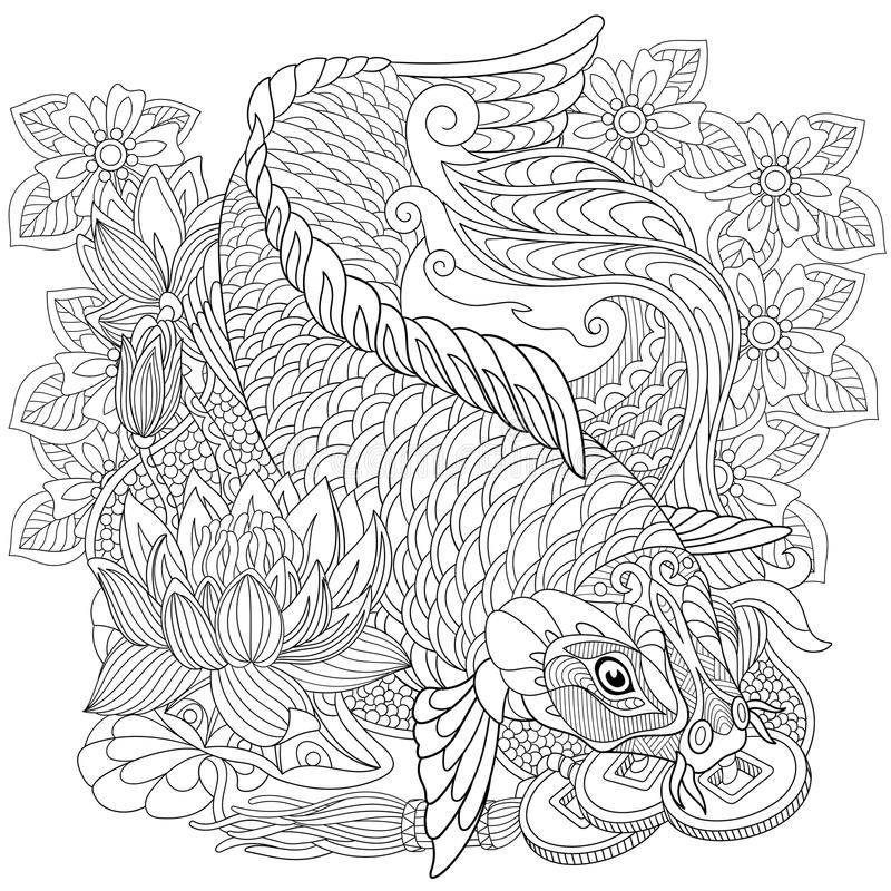 Zentangle estilizó la carpa del koi libre illustration