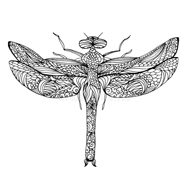 Zentangle estilizó la libélula Ejemplo modelado étnico del vector ilustración del vector