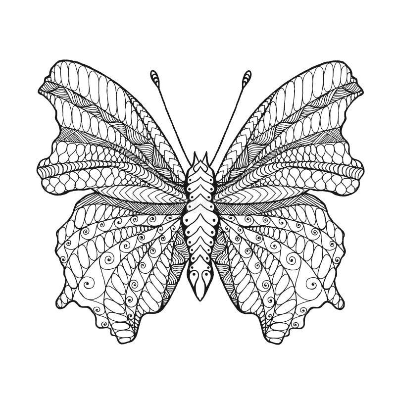 Zentangle estilizó la mariposa stock de ilustración