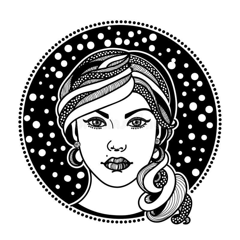 Zentangle estilizó a la muchacha stock de ilustración