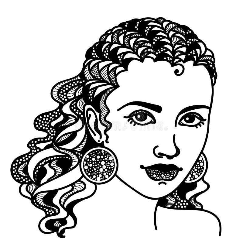 Zentangle estilizó a la muchacha ilustración del vector