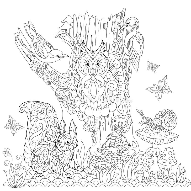 Zentangle estilizó paisaje del bosque stock de ilustración