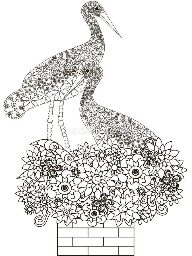 Zentangle estilizó pares que se sentaban monocromáticos de cigüeñas en la jerarquía en la chimenea del ladrillo de la flor libre illustration