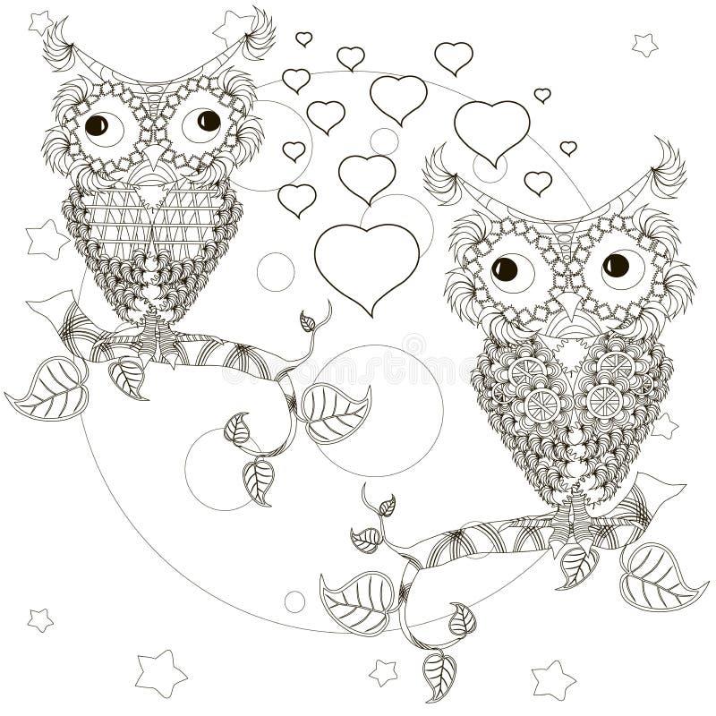 Zentangle estilizou as corujas monocromáticas que sentam-se nos ramos de árvore, lua dos amantes, estrelas, mão tirada, corações ilustração royalty free