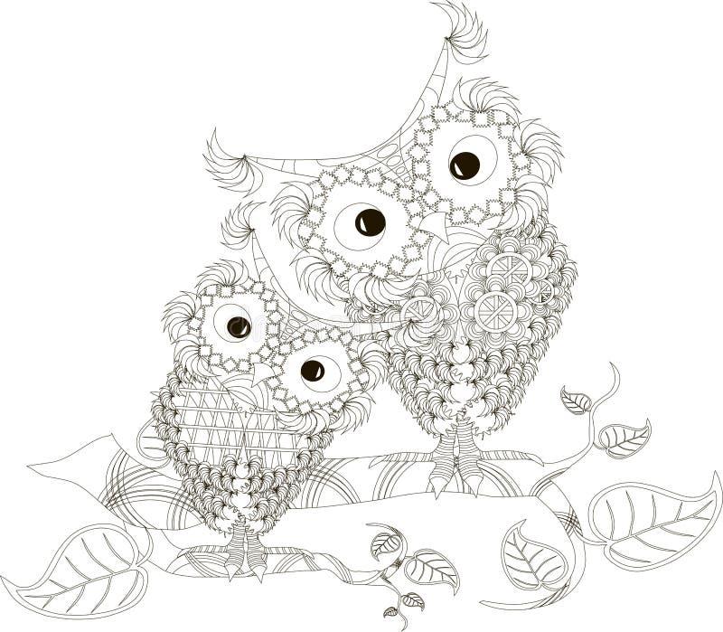 Zentangle estilizou as duas corujas preto e branco que sentam-se nos ramos de árvore, mão tirada, vetor ilustração do vetor
