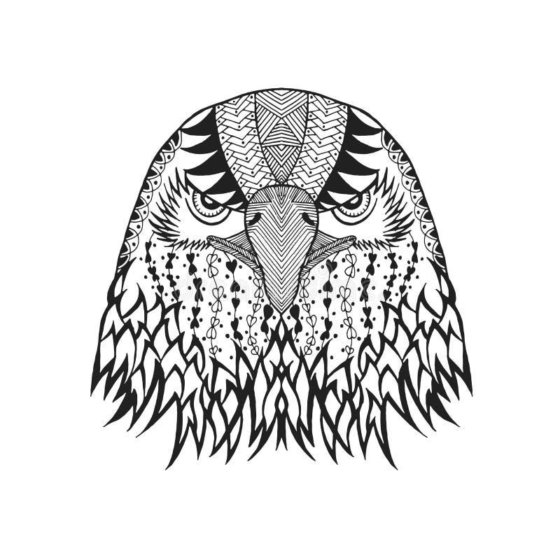 Zentangle estilizou a cabeça da águia Esboço para a tatuagem ou o t-shirt ilustração stock