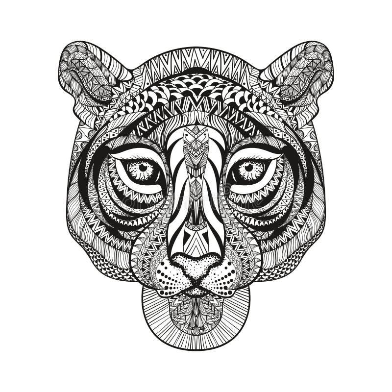 Zentangle estilizou a cara do tigre Vetor tirado mão da garatuja ilustração do vetor