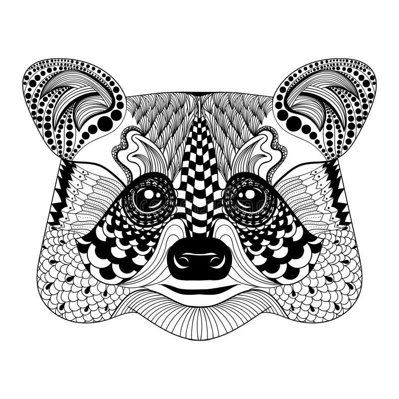 Zentangle estilizou a cara preta do guaxinim Vetor tirado mão da garatuja ilustração royalty free