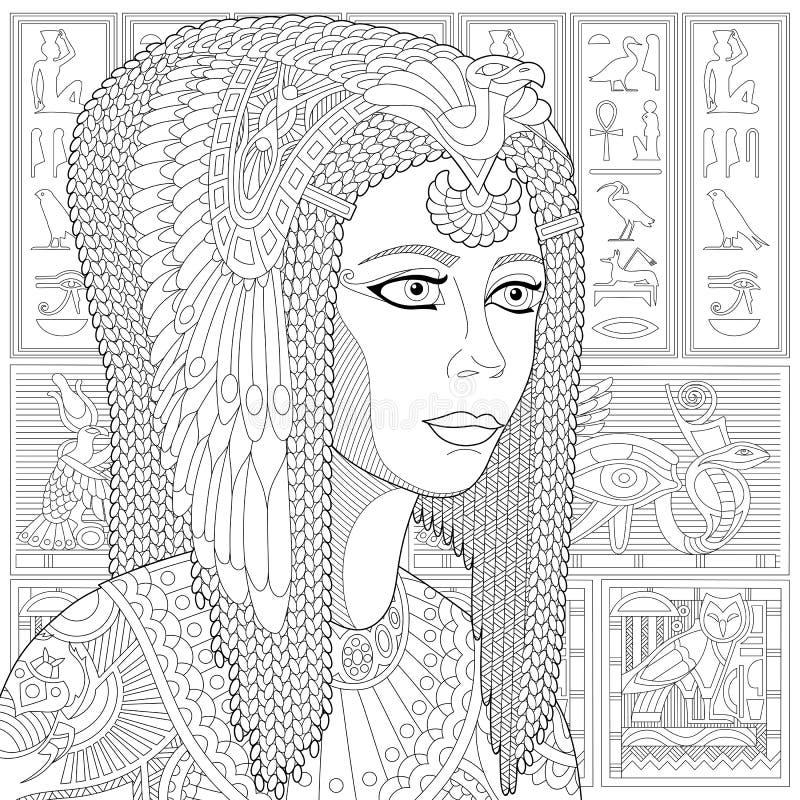Zentangle estilizou Cleopatra (Nefertiti) ilustração royalty free