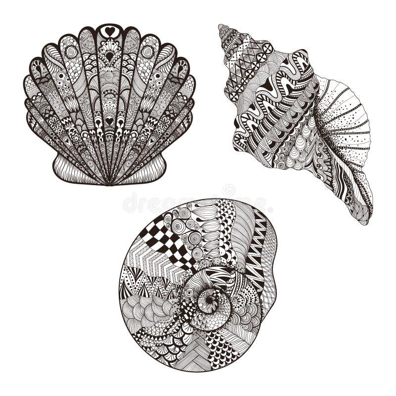 Zentangle estilizou conchas do mar ajustadas Ilustração desenhada mão do vetor ilustração stock
