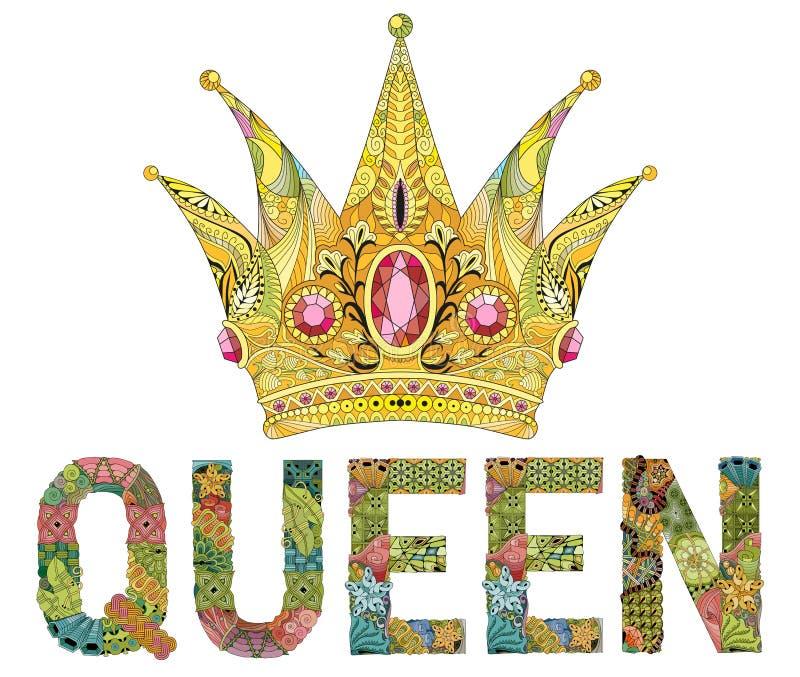 Zentangle estilizou a coroa com rainha da palavra Ilustração tirada mão do vetor do laço ilustração stock