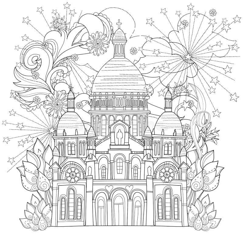 Zentangle estilizou a garatuja do vetor da catedral de Paris ilustração stock