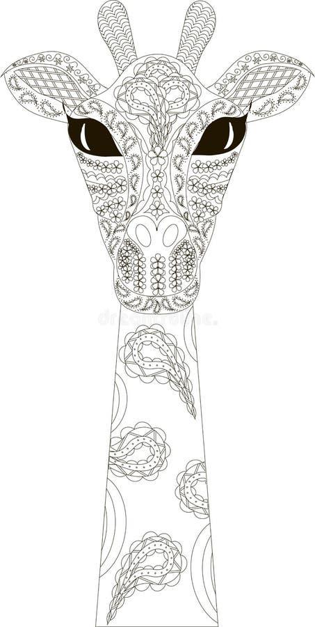 Zentangle estilizou a mão preto e branco do girafa tirada ilustração royalty free