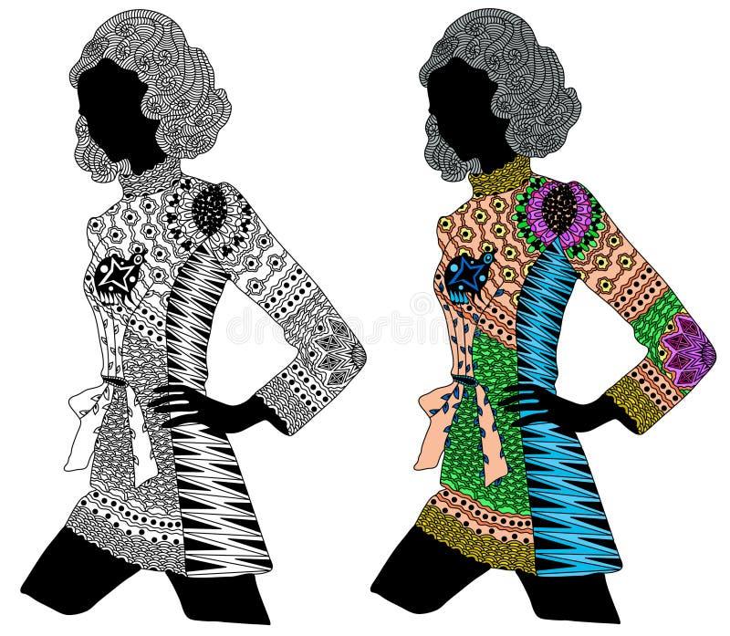 Zentangle estilizou a menina da cor e do preto ilustração do vetor
