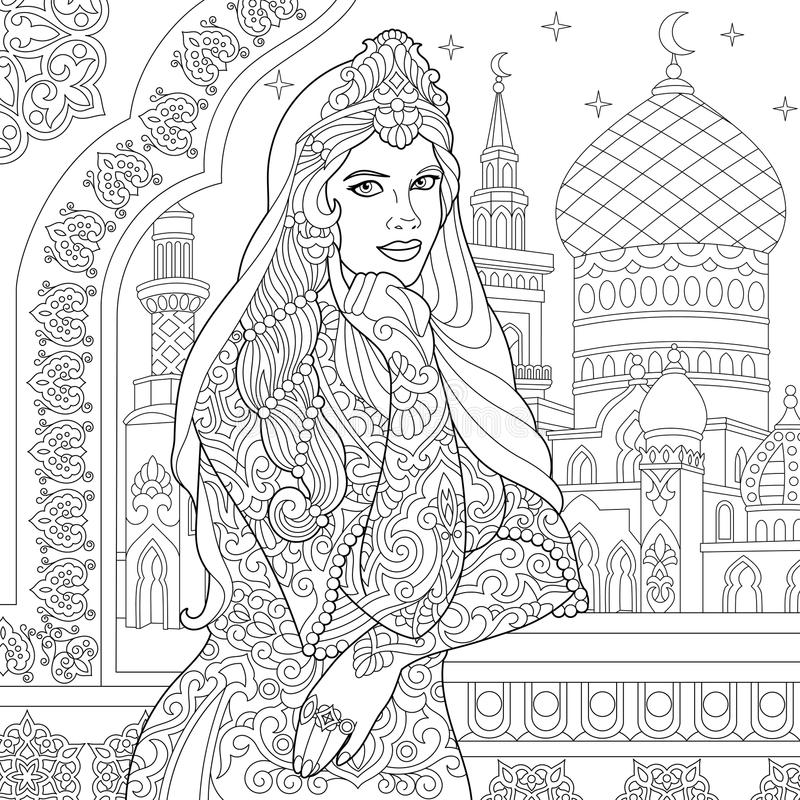 Zentangle estilizou a mulher turca ilustração royalty free