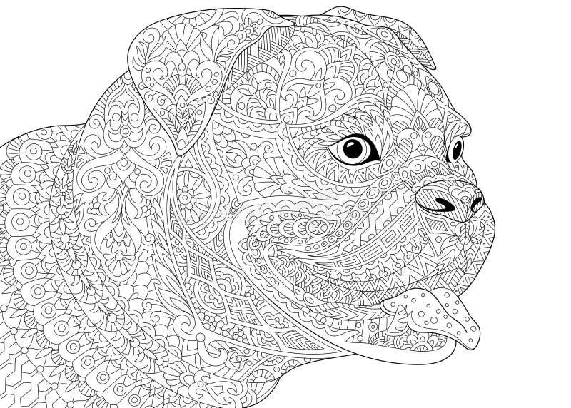 Zentangle estilizou o cão alemão do pugilista ilustração stock