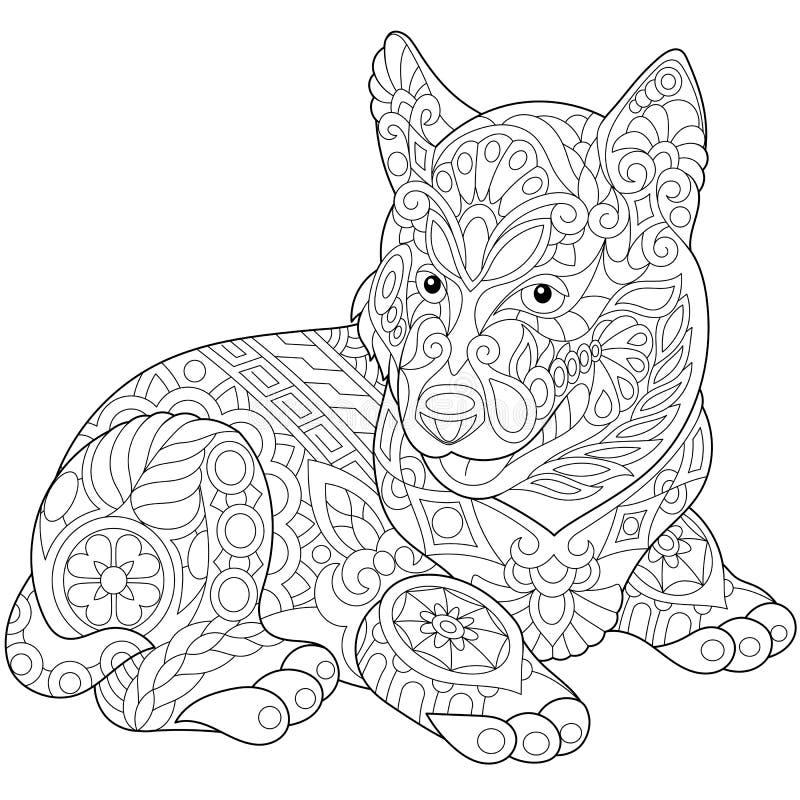 Zentangle estilizou o cão de puxar trenós