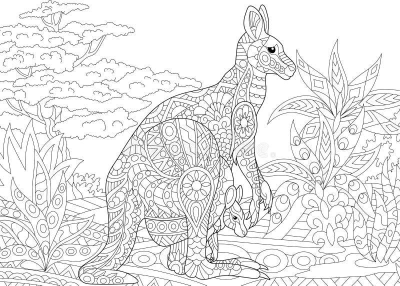 Zentangle estilizou o canguru ilustração stock