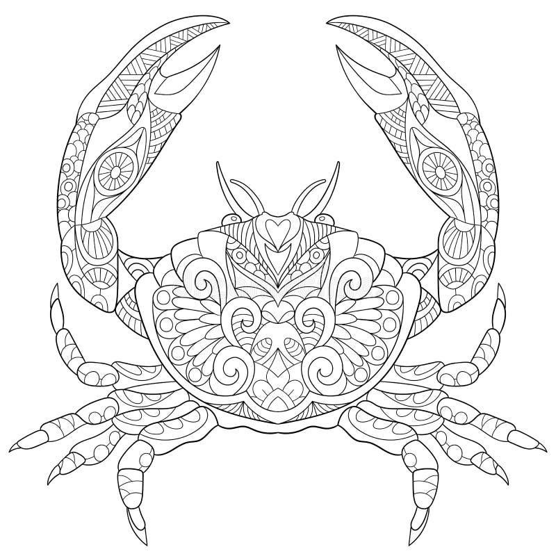 Zentangle estilizou o caranguejo ilustração royalty free