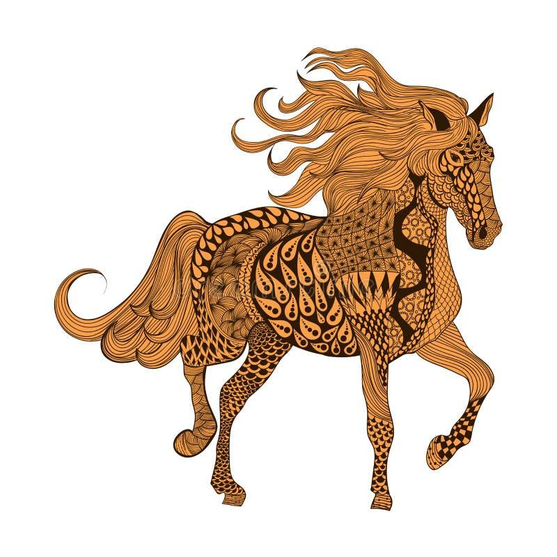 Zentangle estilizou o cavalo de Brown Illustr tirado mão do vetor da garatuja ilustração do vetor