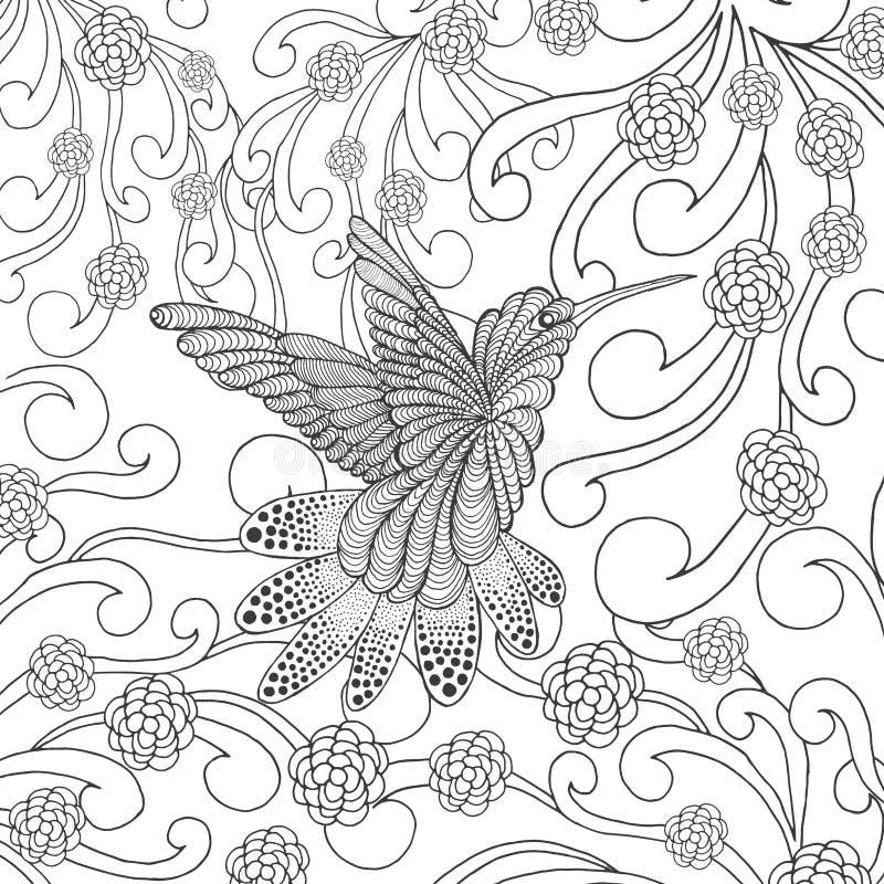 Zentangle estilizou o colibri no jardim ilustração stock