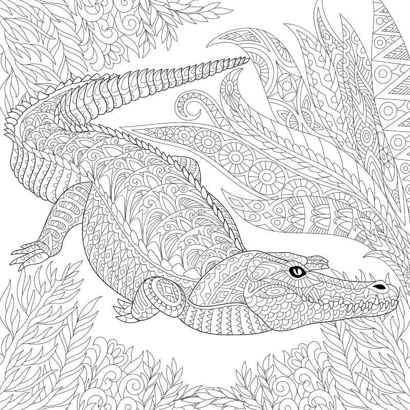 Zentangle estilizou o crocodilo (o jacaré) ilustração royalty free