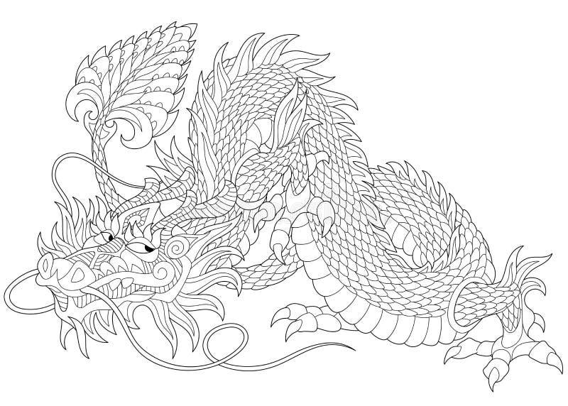 Zentangle estilizou o dragão ilustração royalty free