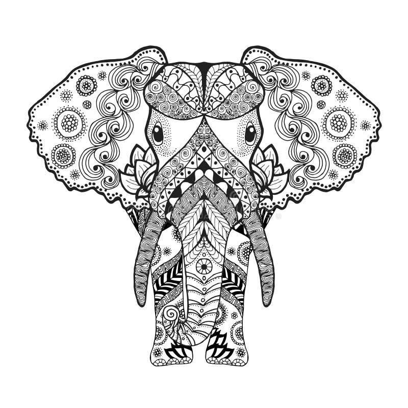 Zentangle estilizou o elefante ilustração do vetor