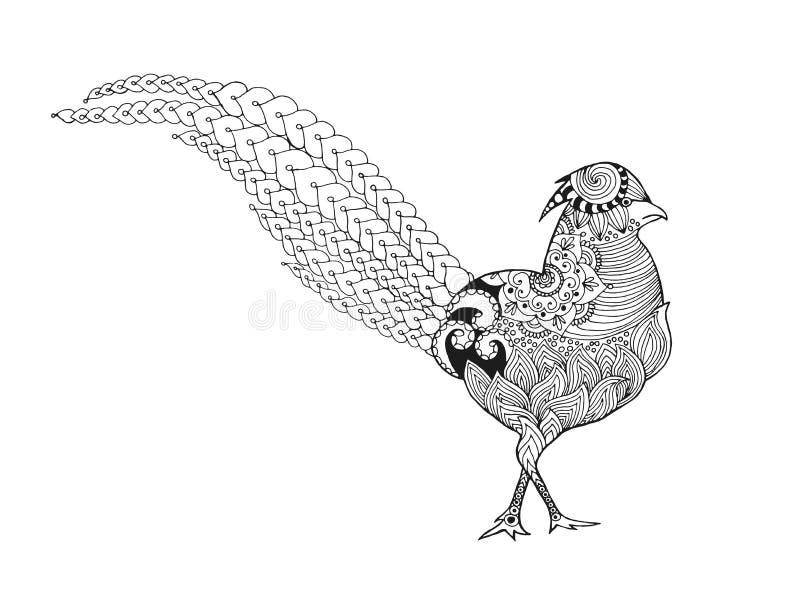 Zentangle estilizou o faisão ilustração stock