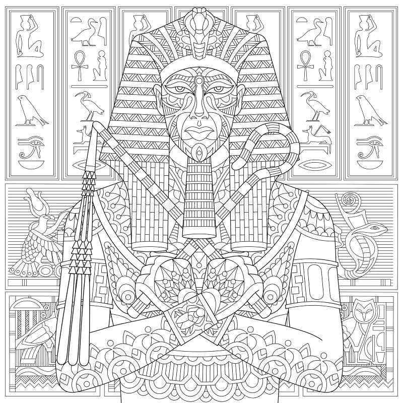 Zentangle estilizou o faraó ilustração do vetor